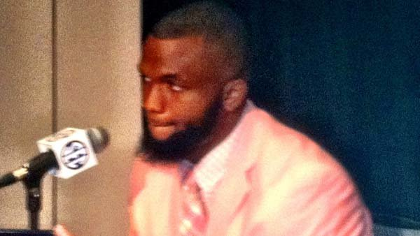 Mike Marry, a linebacker from Ole Miss, sported a pink suit during SEC Media Days. (Source: Tom Ensey/RNN)