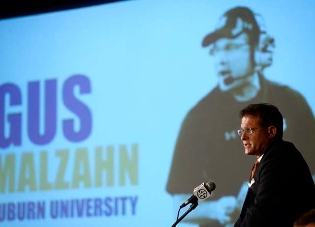 Auburn's new coach Gus Malzahn addresses the media at the 2013 SEC Media Days. (Source: Todd Van Ernst)