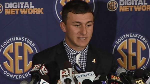 Johnny Manziel, aka Johnny Football, answered questions about leaving the Manning Passing Academy. (Source: WSFA)