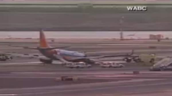 A landing gear appeared to collapse on a Southwest flight landing at LaGuardia Airport Monday. (Source: WABC/CNN)