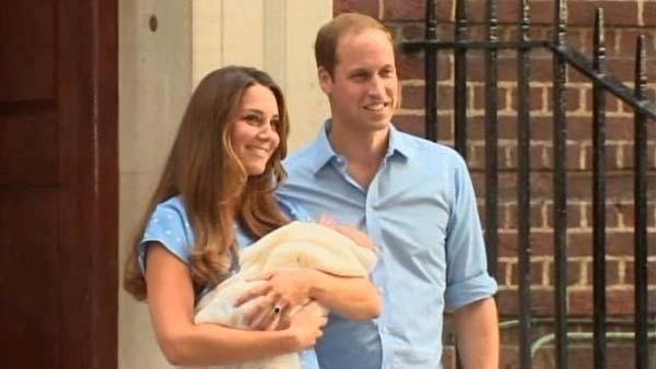 Kate Middleton, Duchess of Cambridge, and Prince William show off the newest member of the royal family, born Monday. (Source: CNN)