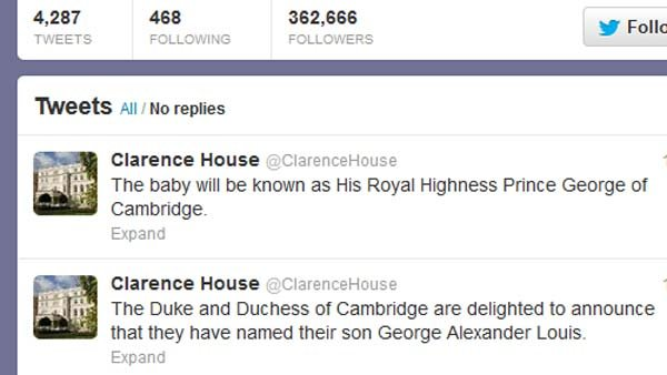 Prince William and Catherine, Duchess of Cambridge have named their baby George Alexander Louis.  (Source: Twitter)