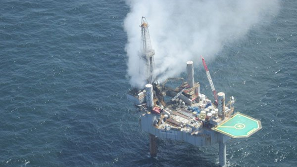 The rig had been evacuated earlier in the day after it experienced a blowout. (Source: Bureau of Safety and Environmental Enforcement)