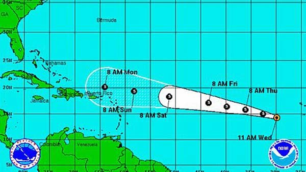 Tropical Storm Dorian has formed in the Atlantic Ocean. (Source: National Hurricane Center)