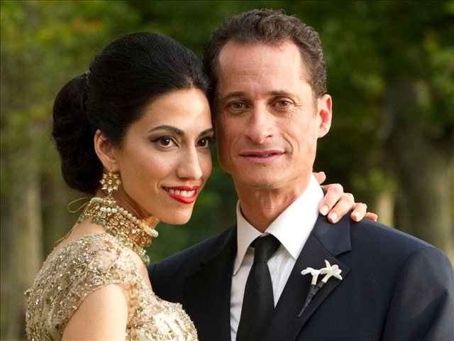 Pictured is former Congressman Anthony Weiner, now a New York mayoral candidate, with his wife, an adviser to Hillary Clinton. (Source:  Barbara Kinney/MGN)