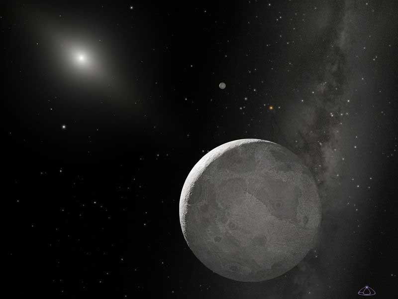 An artist's impression of what dwarf planet Eris and its moon look like. (Source: NASA/Wikimedia Commons)