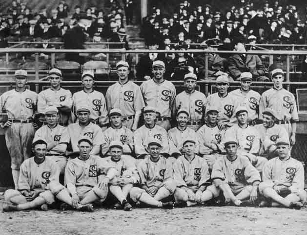 The 1919 Chicago White Sox. Eight of the players were banned from baseball after intentionally losing the World Series. (Source: Wikimedia Commons)