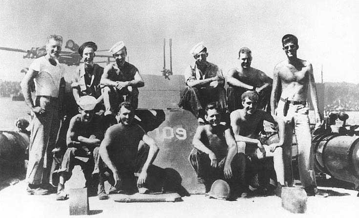 The crew of PT-109. Future president John F. Kennedy is standing at right. (Source: Department of Defense/Wikimedia Commons)