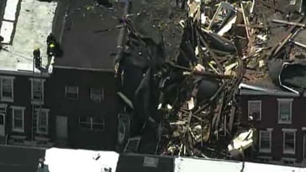 Injuries were reported after a row house collapsed in South Philadelphia. (Source: CNN/KYW)