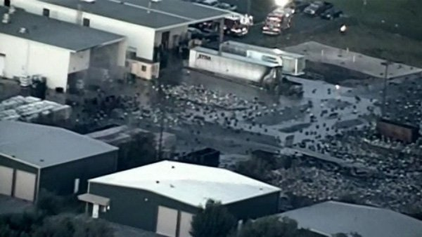 A Blue Rhino propane tank plant in Florida was the scene of several large explosions Monday. (Source: WFTV/CNN)