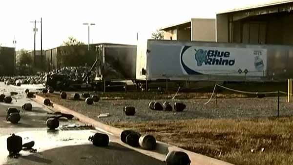 Thousands of mangled propane tanks littler the grounds of the Blue Rhino Plant in Tavares, FL. (Source: CNN)