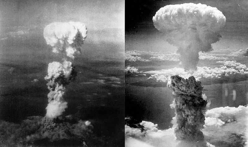 This composite image shows the mushroom clouds over Hiroshima, left, and Nagasaki, right, following an atomic bomb blast in August 1945. (Source: U.S. Air Force/Wikimedia Commons)