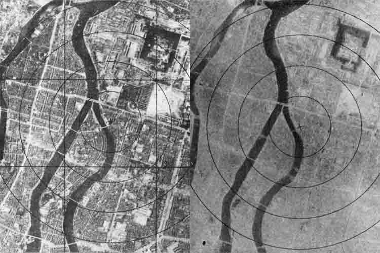 This composite image shows before, left, and after, right, images of the atomic bombing of Hiroshima. (Source: Wikimedia Commons)