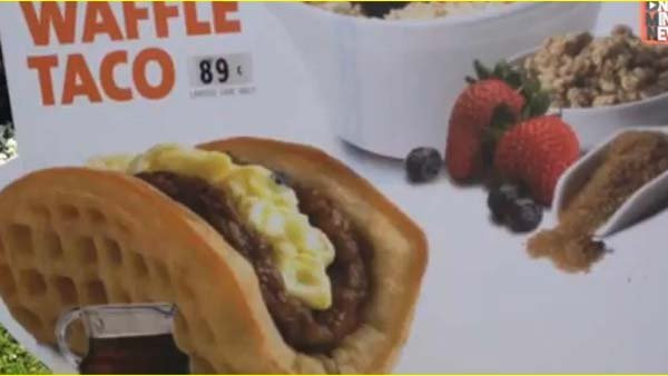 Taco Bell adds waffle tacos to its breakfast menu. (Source: Youtube)