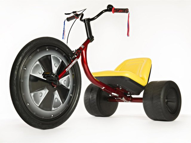 The steel frame sits on two 14-inch plastic wheels in the back and a 26-inch front wheel. (Source: highrollerusa.com)