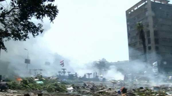 Neighborhoods destroyed after clashes in Egypt on Wednesday. (Source: CNN)