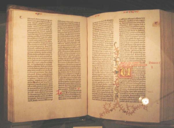 A Gutenberg Bible. (Source: Wikimedia Commons)