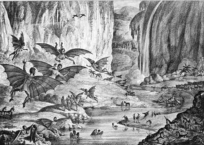 A lithograph depicting life on the moon as outlined in a hoax story by The New York Sun on Aug. 25, 1835. (Source: Wikimedia Commons)