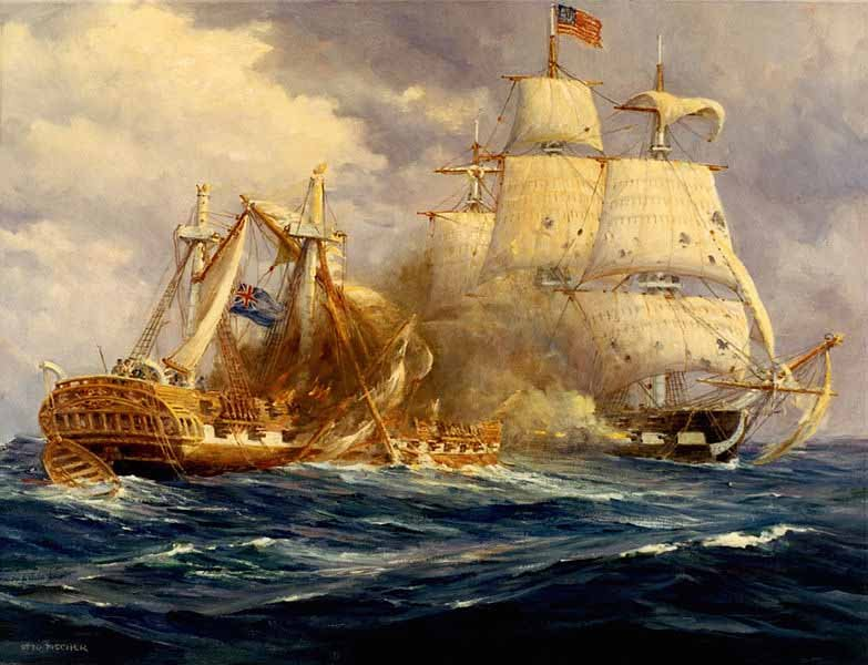 A painting by Anton Otto Fischer depicting the battle between USS Constitution and HMS Guerriere on Aug. 19, 1912. (Source: Wikimedia Commons)