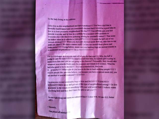 An anonymous neighbor sent an offensive letter to the family of an autistic child, but other neighbors rallied around the family. (Source: Lennon and Maisy via Twitter)