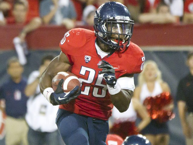 Arizona running back Ka'Deem Carey led the nation in rushing with 1,929 yards last season. (Source: Arizona Athletics)