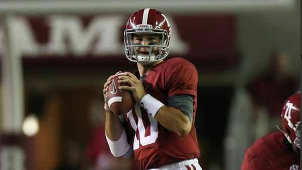 Alabama is picked No. 1 in preseason polls, but an injury to quarterback AJ McCarron could change all that. (Source: UA media relations)