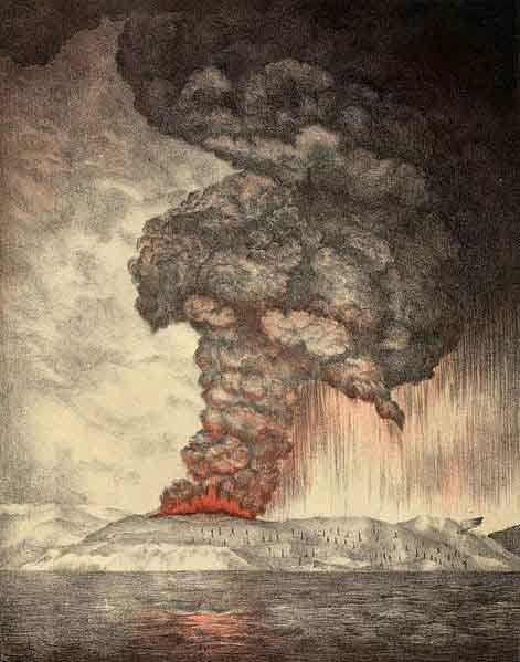 This lithograph from 1888 depicts the 1883 eruption of Krakatoa. (Source: Wikimedia Commons)