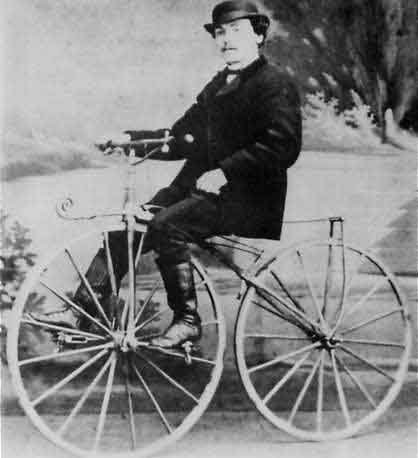Bicycle inventor Pierre Lallement riding a velocipede in 1870. (Source: Wikimedia Commons)