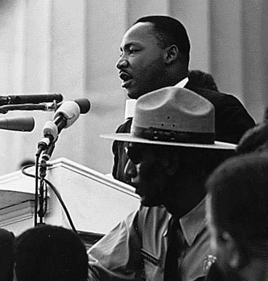 Martin Luther King Jr. speaks during the March on Washington for Jobs and Freedom. (Source: National Archives/Wikimedia Commons)