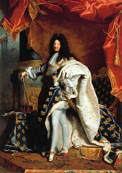 This painting by Hyacinthe Rigaud in 1701 depicts French King Louis XIV. (Source: Wikimedia Commons)
