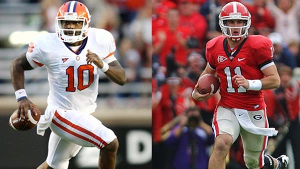 Clemson's Tajh Boyd (10) and Georgia's Aaron Murray (11) will run right smack into each other's paths when they open their season Saturday night. (Source: Clemson University Athletics/University of Georgia Athletics/Rob Saye)