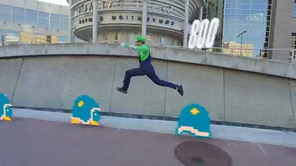 Parkour experts Ronnie Shalvis and Christian Russell bring Super Mario Bros. to real life. (Source: YouTube)