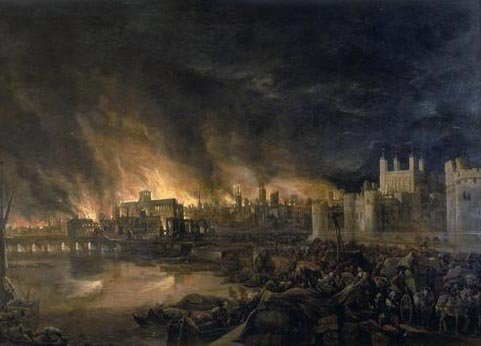 This painting depicts the Great Fire of London in 1666. (Source: Wikimedia Commons)