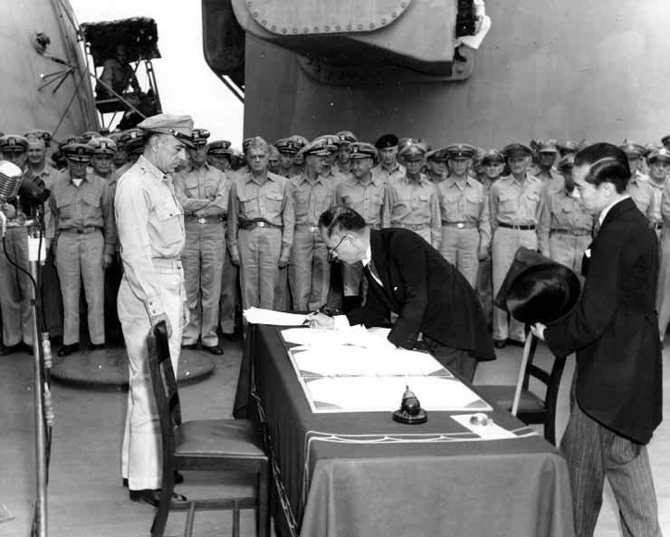 Japanese foreign minister Mamoru Shigemitsu signs the Instrument of Surrender on Sept. 2, 1945, ending World War II. (Source: U.S. Army/Wikimedia Commons)