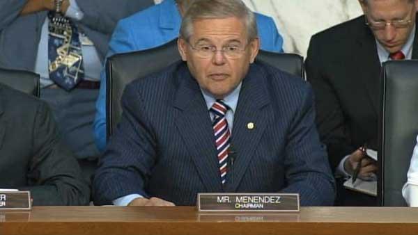 Senator Robert Menendez, Senate Foreign Relations Committee Chairman speaks at the Senate hearing on Syria military action. (Source: CNN)