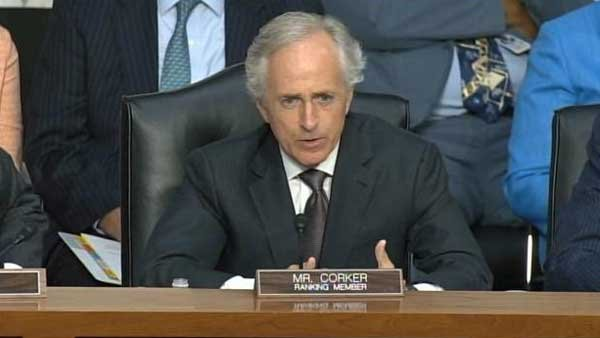 Senator Bob Corker, Senate Foreign Relations Committee Ranking member speaks at the Senate hearing on Syria military action. (Source: CNN)
