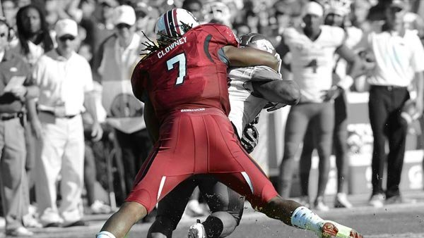 What's the formula for success against Jadeveon Clowney? Run at him hard and often. (Source: South Carolina Athletics)