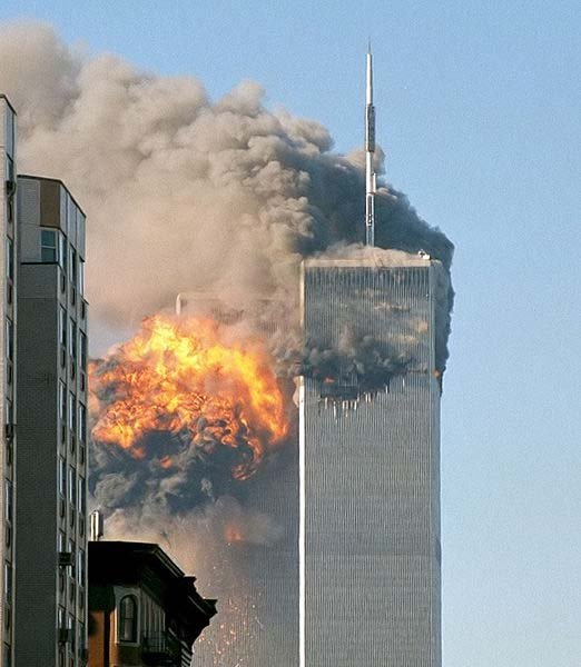The South Tower of the World Trade Center is hit by a hijacked airplane Sept. 11, 2001. (Source: Wikimedia Commons/Flickr/TheMachineShops)