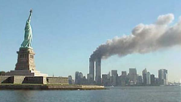 Smoke rises from the World Trace Center on Sept. 11, 2001. (Source: National Park Service/Wikimedia Commons)