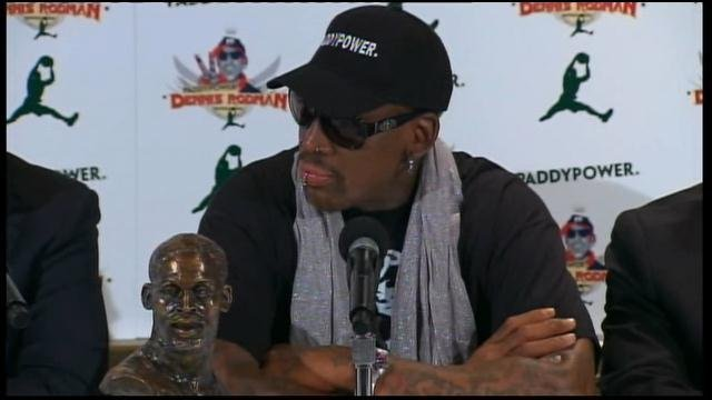 Dennis Rodman plans to train the North Korean basketball team for the Olympics. (Source: CNN)