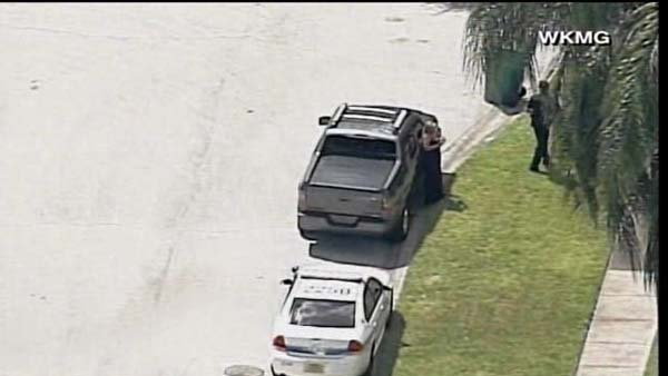 George Zimmerman truck pictured outside of the home where a domestic incident happened Monday afternoon. (Source: WKMG/CNN)