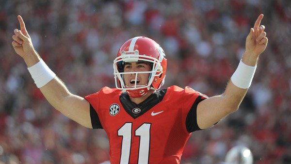 Georgia quarterback Aaron Murray was named the SEC's offensive player of the week after throwing for 309 yards and four touchdowns in a 41-30 win over South Carolina. (Source: Georgia Athletics)