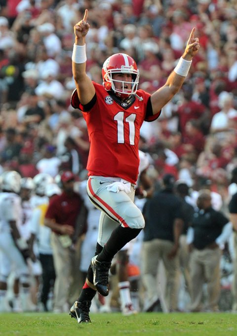 Aaron Murray celebrates during the Georgia Bulldogs' 41-30 win over South Carolina on Saturday. (Source: Georgia Athletics)