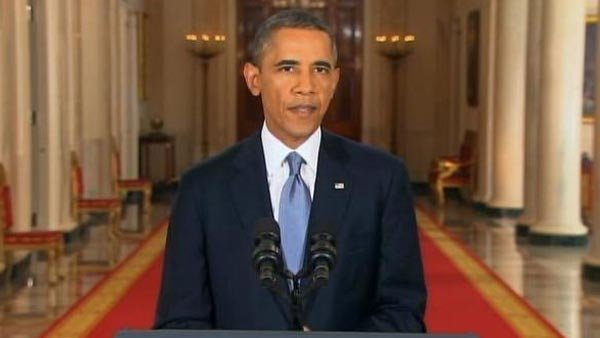 President Barack Obama speaks on Syria from the East Room of the White House. (Source: CNN)