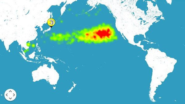 The radiation plume from the 2011 disaster is expected to reach the U.S. coast by 2014, according to a model. (Source: adrift.au.org)