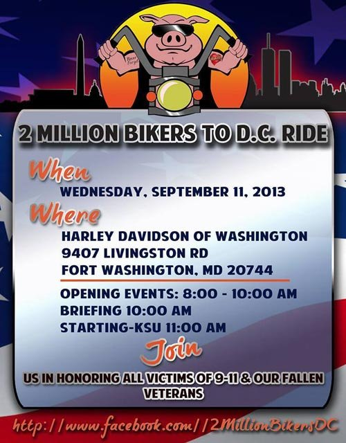 The group 2 Million Bikers to DC continued its goal, despite not receiving a permit to block off streets in the nation's capital. (Source: 2 Million Bikers/Facebook)