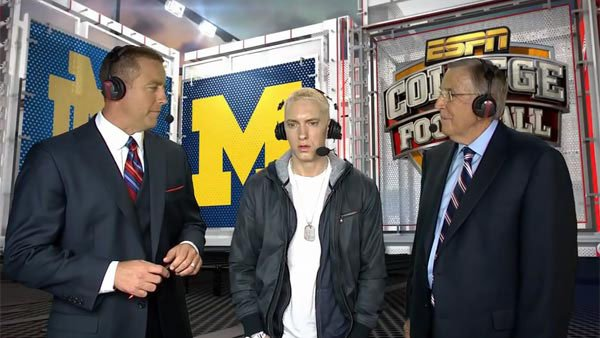 Eminem and Brent Musburger are officially the new odd couple. (Source: ESPN/YouTube)