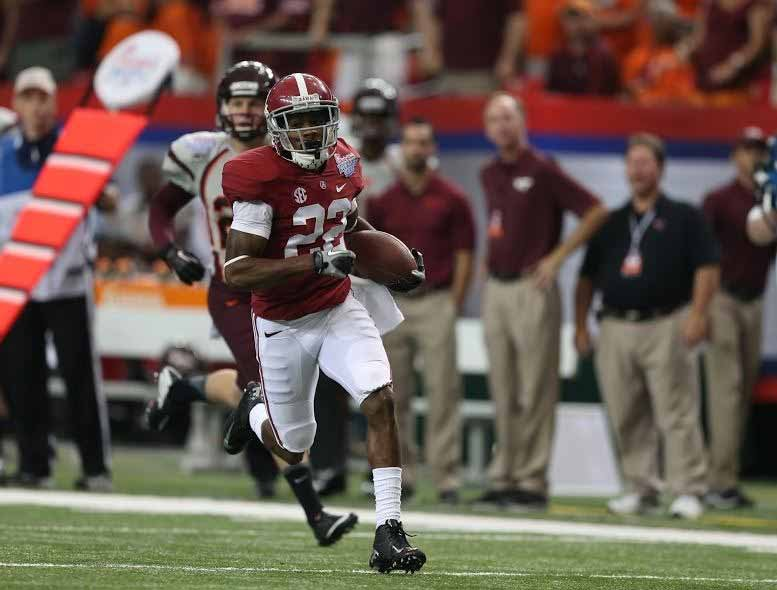 Christion Jones runs off and leaves Virginia Tech defenders. (Source: University of Alabama Athletics)