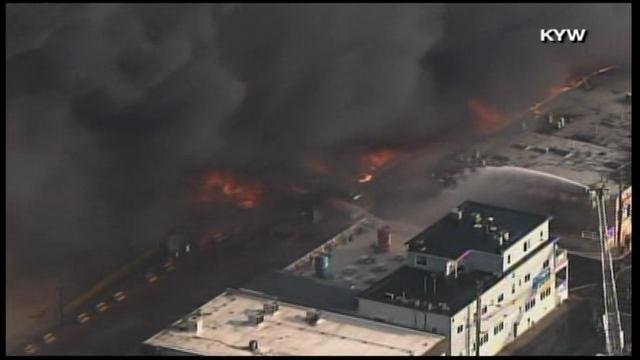 A large fire has taken over a popular boardwalk area in Seaside Park, NJ on Thursday. (Source: KYW/CNN)