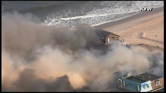 The location of the boardwalk is causing problems for firefighters who need large amounts of water to fight the growing blaze. (Source: KYW/CNN)